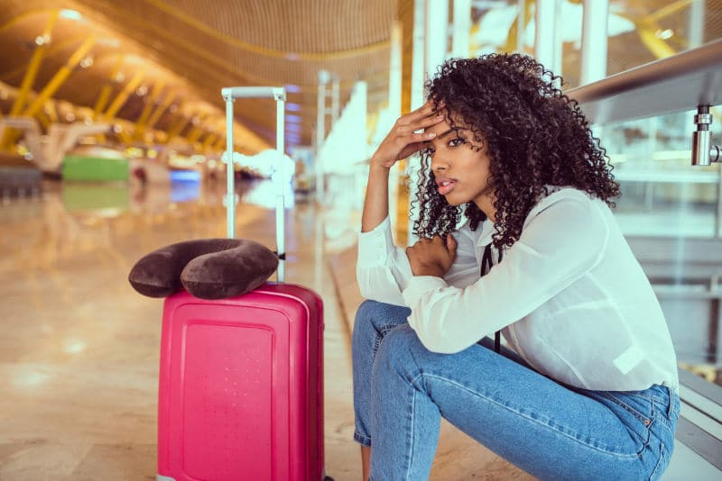 Woman waiting in airport